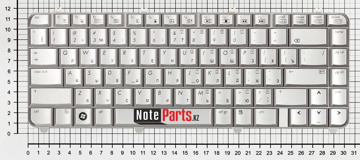 Клавиатура для ноутбука HP dv5-1000, dv5-1100 серебряная