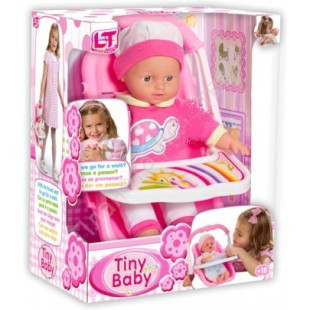 """LT 98025 Tiny Baby - Игровой набор """"Путешествие""""- Мягкий пупс, 30см, с переносным автокреслом"""