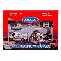 """Игрушка Welly набор """"Служба спасения - полиция""""  4 шт."""