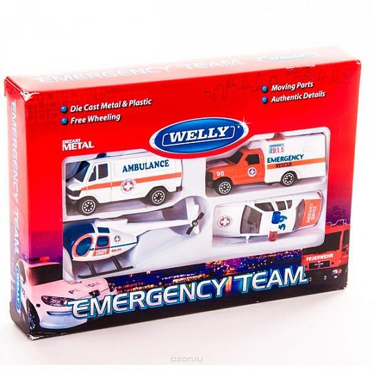 """Игрушка Welly набор """"Служба спасения - скорая помощь""""  4 шт."""