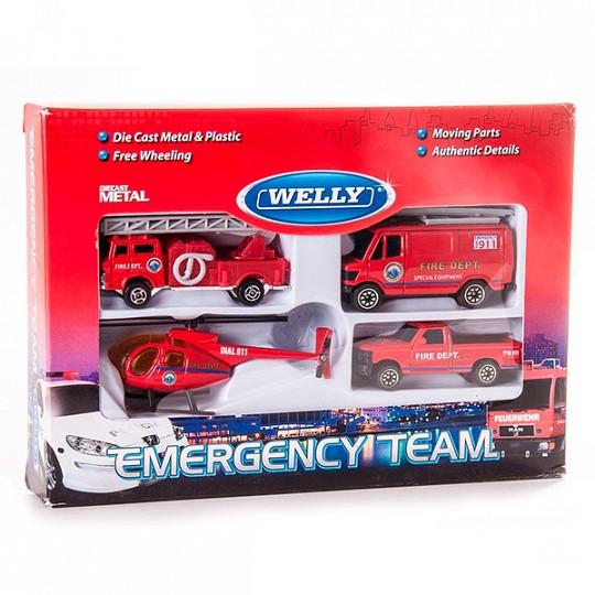 """Игрушка Welly набор """"Служба спасения - пожарная команда""""  4 шт."""