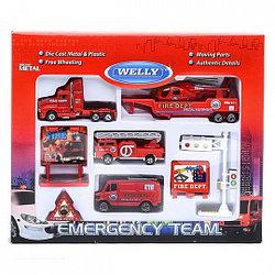 """Игрушка Welly набор """"Служба спасения - пожарная команда""""  9 шт."""