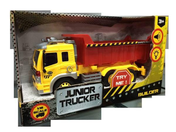 Инерционная машина Junior Trucker - Самосвал (свет, звук), 1:16
