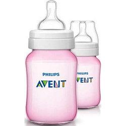 Бутылочка Avent Classic+ 260мл 2шт розовая