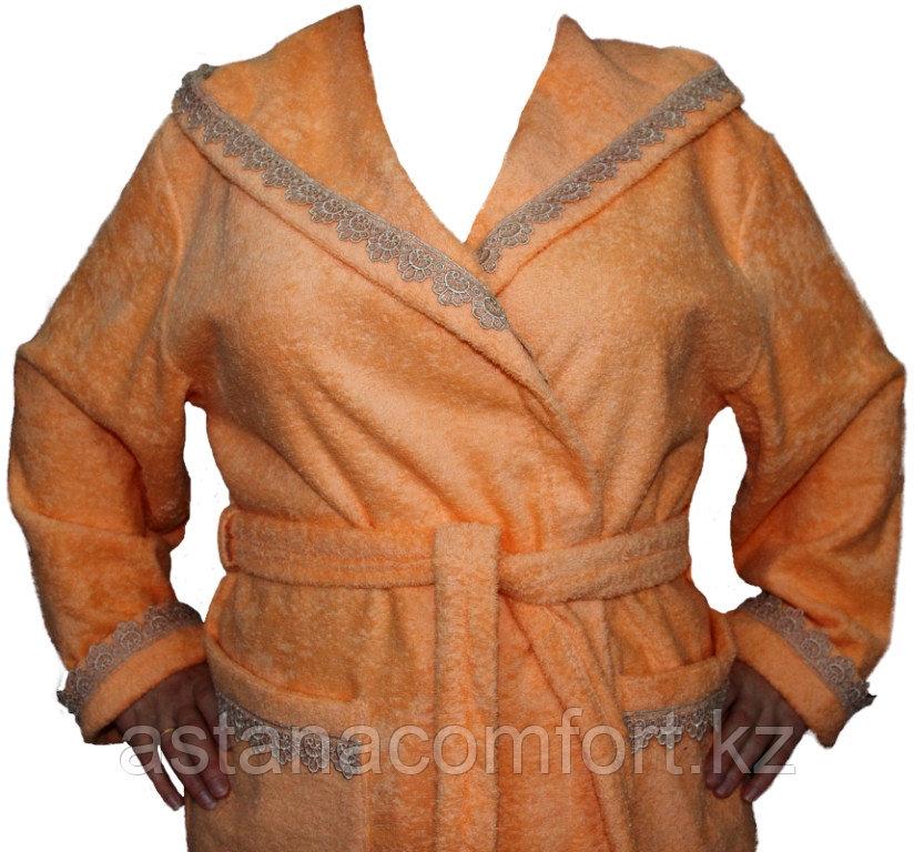 Женский банный махровый халат с капюшоном. Россия