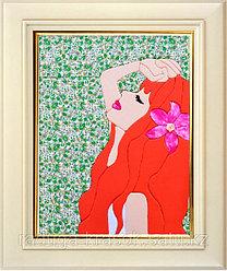 """Картины из ткани - """"Рыжеволосая красотка"""" 30Х40 см"""