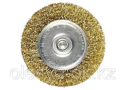 Щетка для дрели 100 мм, плоская со шпилькой, латунированная витая проволока // MATRIX, фото 2