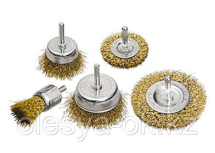 "Набор щеток для дрели, 5 шт, 2 плоские, 50-75 мм, 3 ""чашки"", 25-50-75 мм, со шпильками. MATRIX, фото 2"