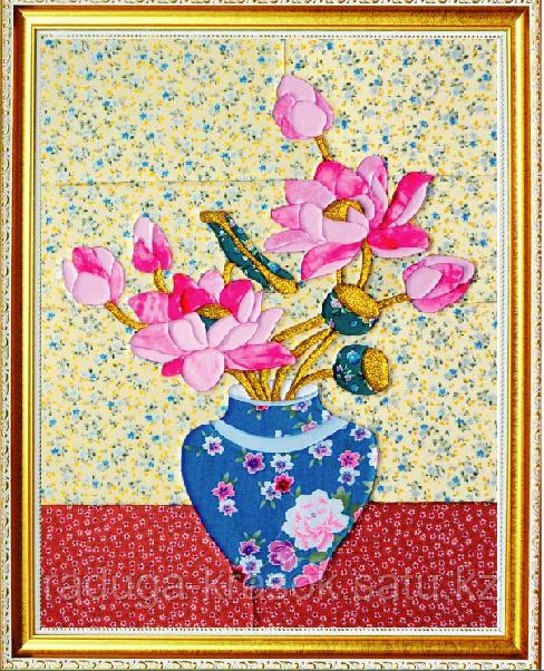 """Картины из ткани - """"Пионы в вазе"""" 35х45 см"""