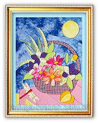 "Картины из ткани - ""Корзина с цветами"" 35х45 см"