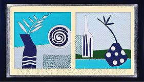 """Картины из ткани - """"Абстракция в синих тонах"""" 30х30х2 см"""