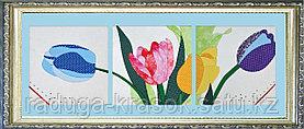 """Картины из ткани - """"Разноцветные тольпаны"""" 30Х30Х3 см"""