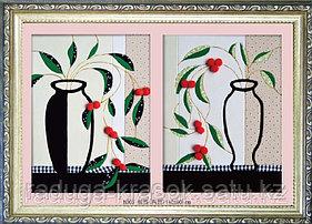 "Картины из ткани - ""Две вазы"" 40х30х2 см"