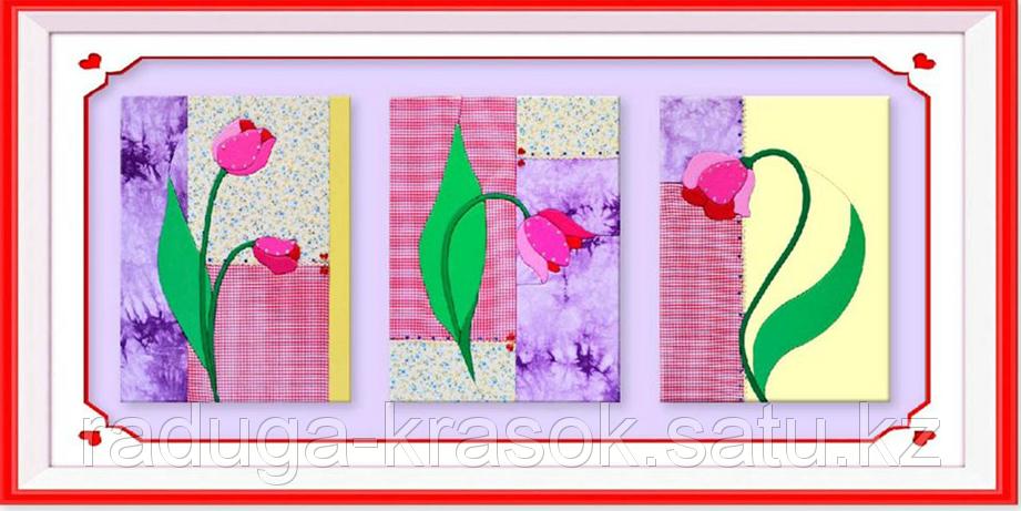 """Картины из ткани - """"Абстракция с тюльпанами"""" 30х40х3 см"""