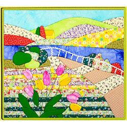 """Картины из ткани - """"Разноцветные холмы"""" 45х40 см"""