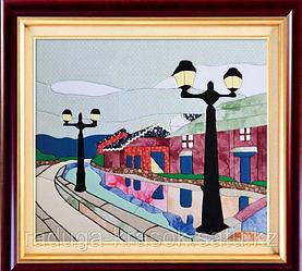 """Картины из ткани - """"Уличные фонари"""" (брак) 45Х40 см"""