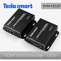 Удлинитель HDMI + USB + IR KVM Extender, 120m, UTP