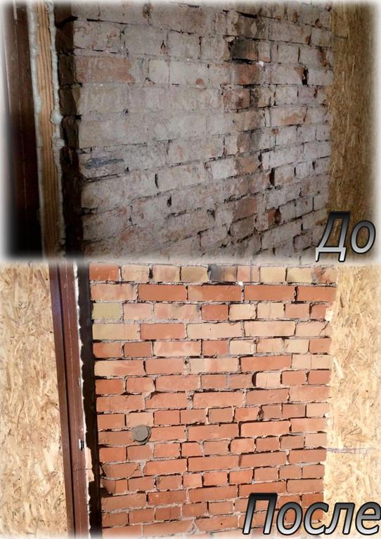 Очистка кирпичной стены от солевых отложений, объект Суши бар