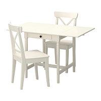 Стол и 2 стула ИНГАТОРП/ИНГОЛЬФ белый ИКЕА, IKEA