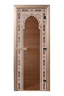 """Дверь для сауны """"Восточная арка"""" стекло бронза, короб хвоя 1,9х07м."""