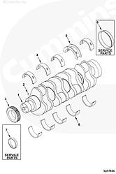 Вкладыш коленвала коренной верхний STD Cummins 4-6BT ISB ISD 3901090