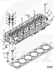 Головка блока цилиндров, коллекторы, патрубки Cummins ISLe QSL9
