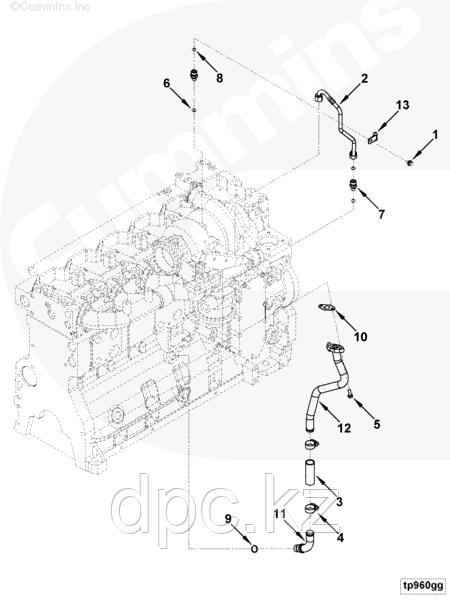 Трубка слива масла с турбины Cummins L ISLe QSL 3945108 3943822
