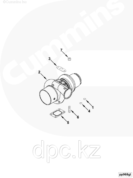 Прокладка сливной трубки с турбокомпрессора Cummins ISBe 4891288