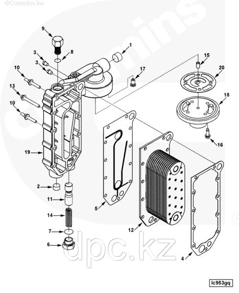 Маслоохладитель (теплообменник) Евро-4 Cummins ISLe, QSC 3966365 3943460 3944464 3957533 5284362