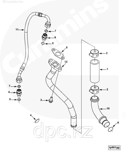 Трубка подачи масла на турбину Cummins L ISLe QSL 4940824