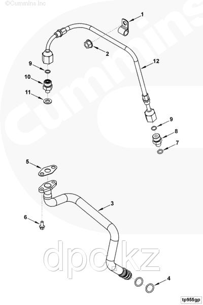 Трубка подачи масла к компрессору / турбине Cummins ISF 3,8 5263871