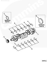 Вкладыши коленвала коренные 0,25 (комплект) Сummins 6CT ISC L 3945918 3800271