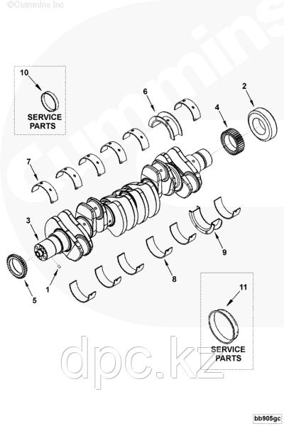 Вкладыш коренной упорный нижний 0,25 Cummins ISB ISD BT 4938942 3945664