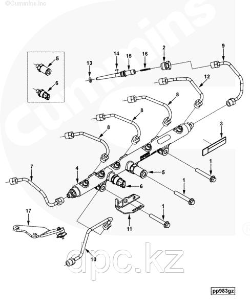 Кольцо уплотнительное коннектора форсунки Cummins 4062328 3972753 3947540