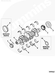 Вкладыши коренные STD комплект на двигатель Cummins 4BT EQB 140-20 4955855 3802010
