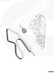 Ролик натяжителя ремня (промежутуточный) Cummins ISBe ISDe 6CT L 4936437 4936439
