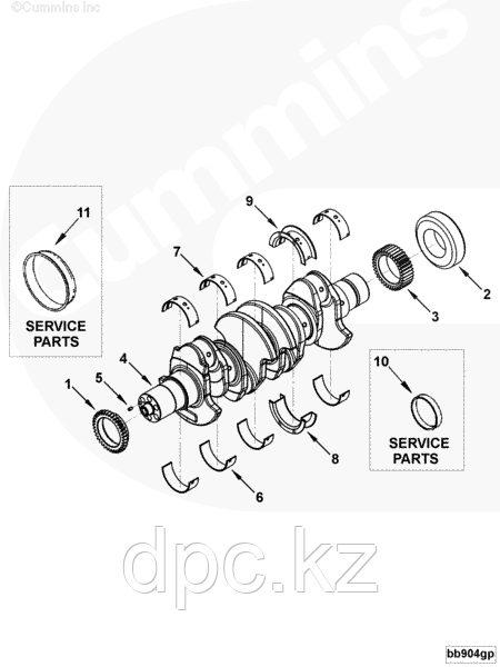 Вкладыши коренные STD комплект на двигатель Cummins 4ISBe 3927772 3901150 3945528 3929016