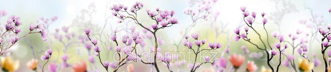 Кухонный фартук УФ  Розовые цветы