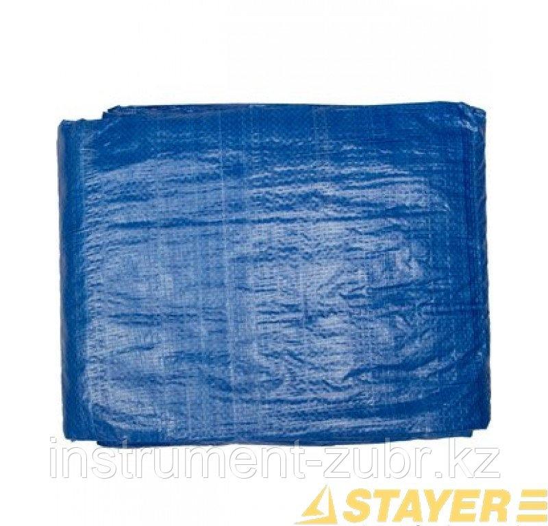 """Тент-полотно STAYER """"MASTER"""" универсальный, из тканого полимера плотностью 65 г/м3, с люверсами, водонепроницаемый, 2мх3м"""