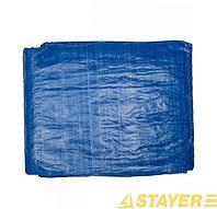 """Тент-полотно STAYER """"MASTER"""" универсальный, из тканого полимера плотностью 65 г/м3, с люверсами, водонепроницаемый, 4мх5м"""
