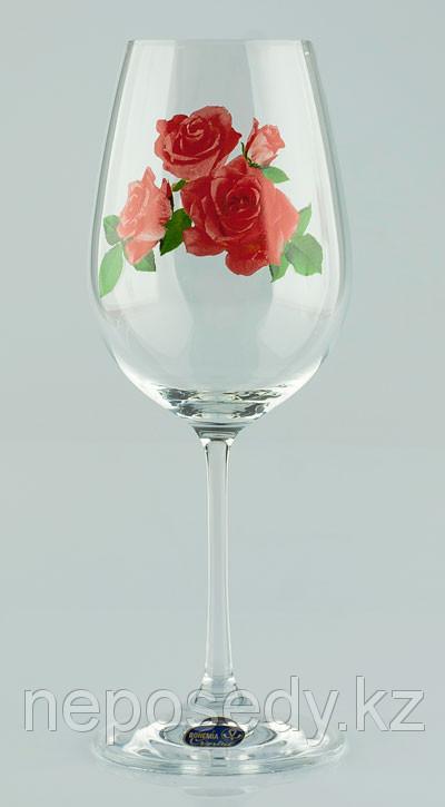 Фужеры Viola вино 450мл. 6шт. богемское стекло, Чехия 40729-OA973-450. Алматы