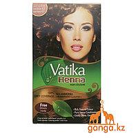 Хна для окрашивания волос Темно-коричневая Ватика (Dark Brown Vatika DABUR), 6 шт*10 гр