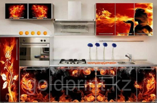 УФ Печать на Кухонных гарнитурах Огонь
