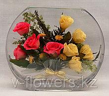 Живые цветы в стекле EUR