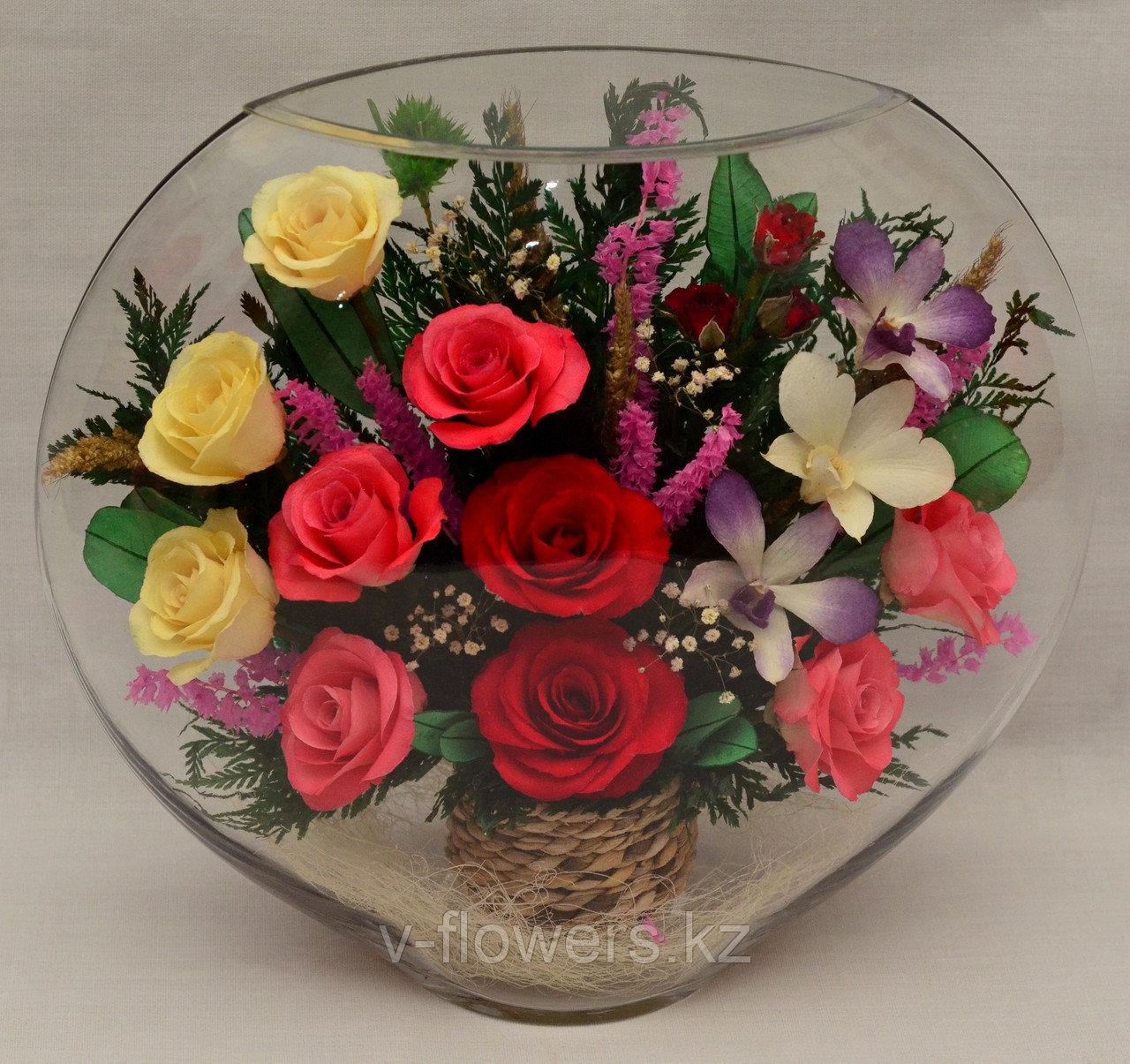 Живые цветы в стекле ELM-21