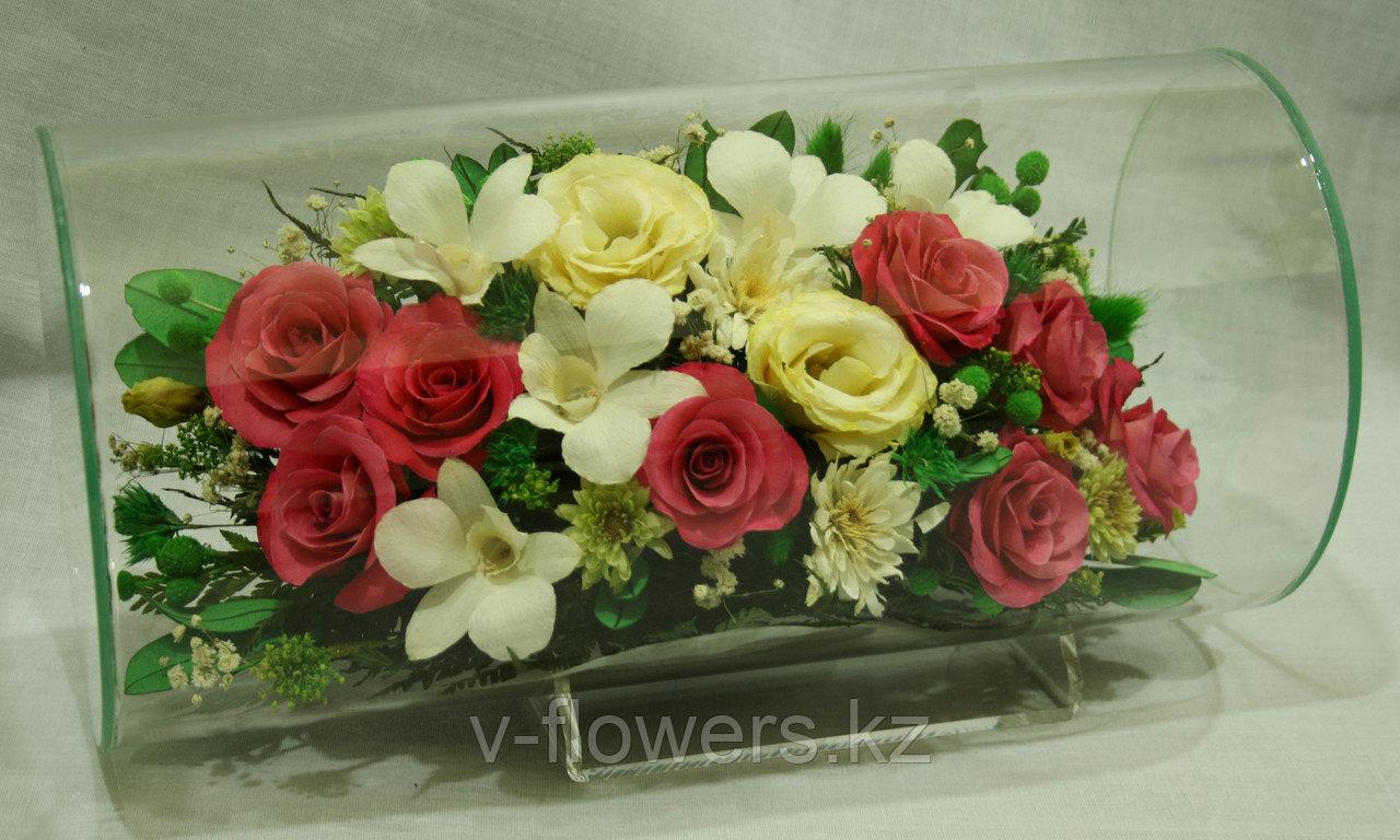 Живые цветы в стекле TJM-04