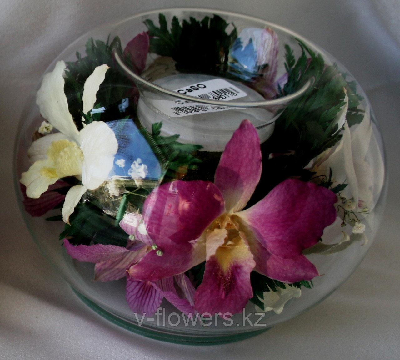 2 в 1 букет и подсвечник из живых цветов CaSO