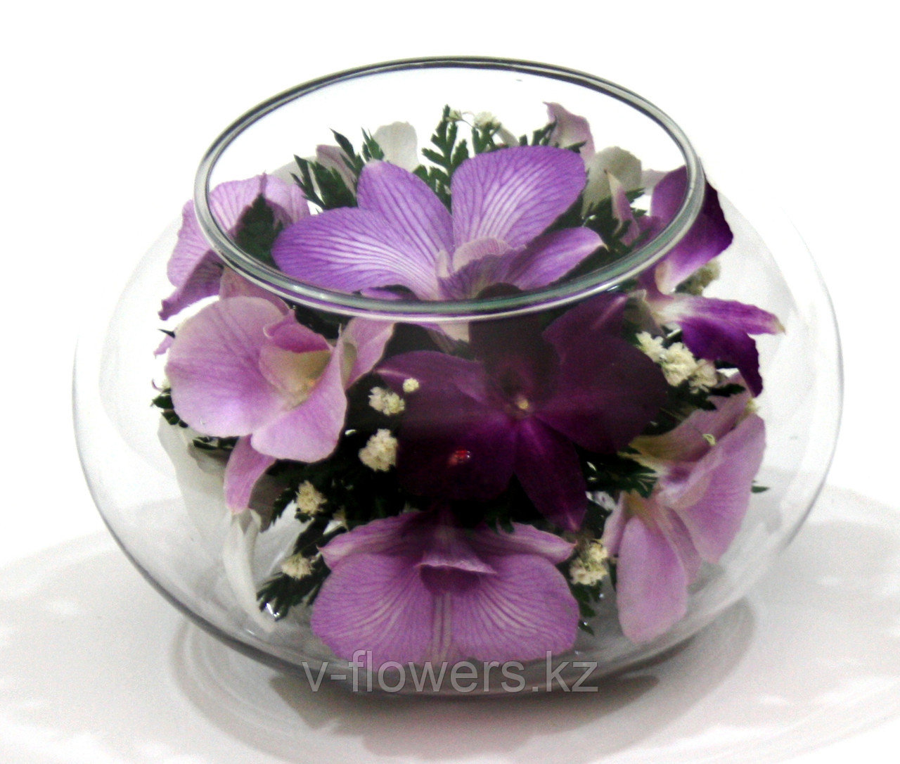 Подвечник и букет 2 в 1 из живых орхидей в стекле CaMO