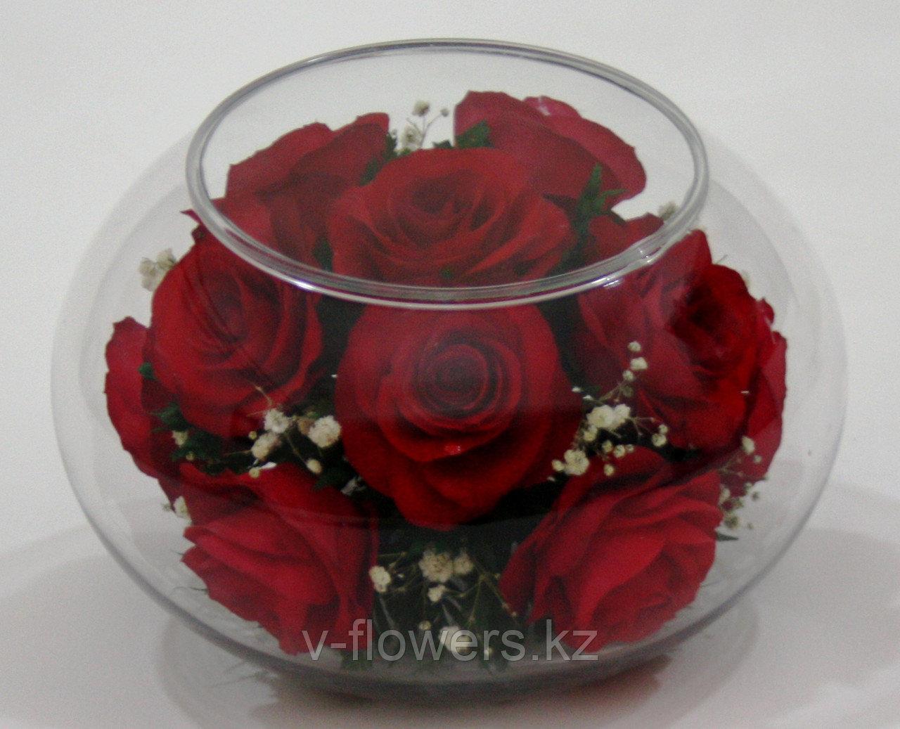 Подвечник и букет 2 в 1 из живых роз в стекле CaMR