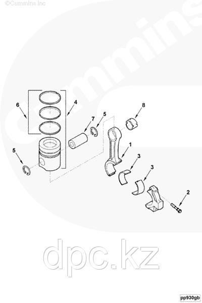 Поршень (1 ремонта) Cummins 4-6BTAA EQB140-20 210-20 3926632 3802562